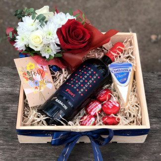 Gift set with wine and cheese photo