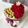 Heart of roses and ferrero rocher photo