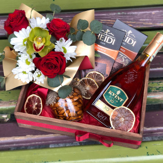 Gift set with cognac and chocolate photo