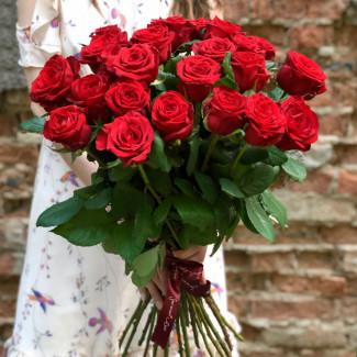 25 Trandafiri Roșii 60-70 cm