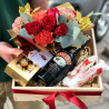 Gift set with flowers and rafaello photo