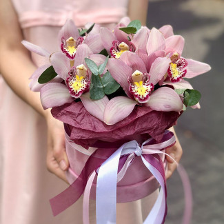 Cutie cu orhidee roz fotografie