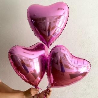 Розовые шарики сердечки фото