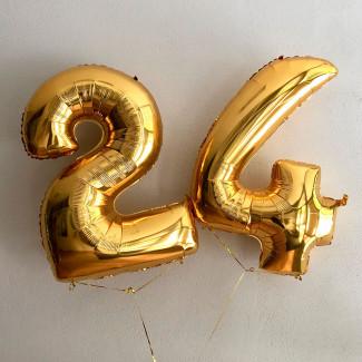 Balloons golden numbers photo