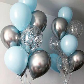 Голубые и серебряные шары фото