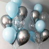 Blue and silver balloons photo