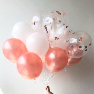 Pink and white balloons photo