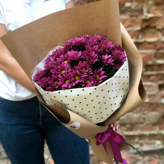 Bouquet of purple chrysanthemums photos
