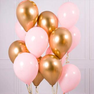 Розовые и золотые шары фото
