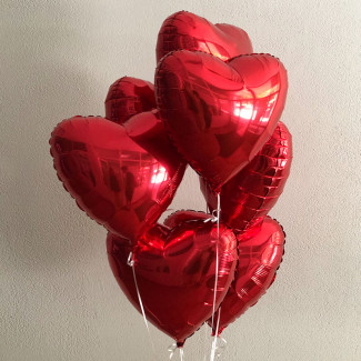 Red heart balloons photo