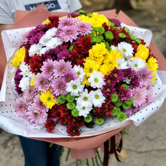 Big bouquet of chrysanthemums photo