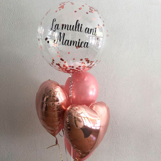 Balloons bubbles with inscription and feathers photo