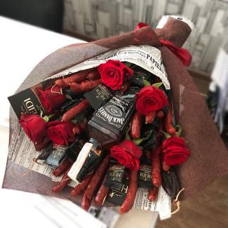 Men's bouquet with sausages photo