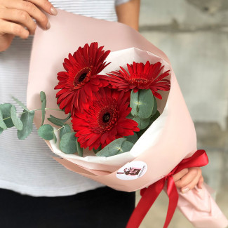 Bouquet of red gerberas photo