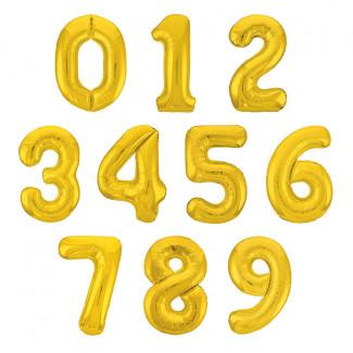Золотые шары с цифрами фото