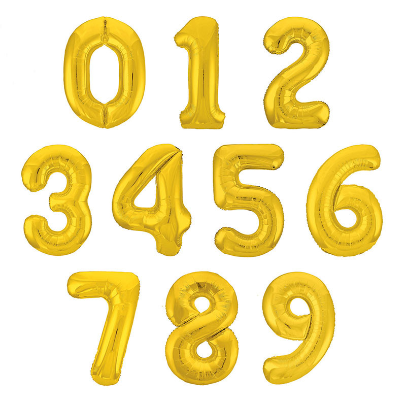 Gold balloons with numbers photo
