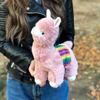 Мягкая игрушка розовая альпака фото
