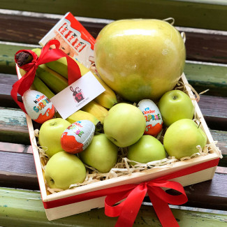 Gift Box with apples and kinders photo