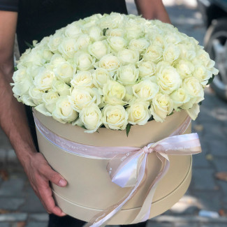 101 white roses in box photo