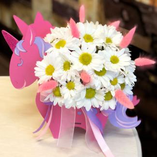 Unicorn with flowers photo
