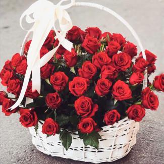 Красные розы в корзине фото