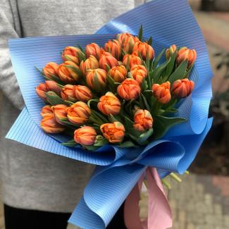 29 оранжевых пионовидных тюльпанов фото