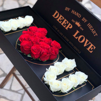 "A Box with Roses ""I Love You"""