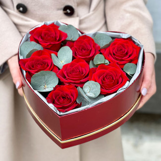 Heart with Red Roses and...