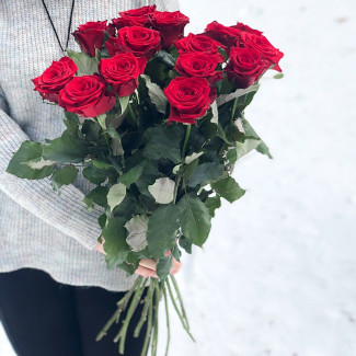 15 Red Roses 70-80 cm