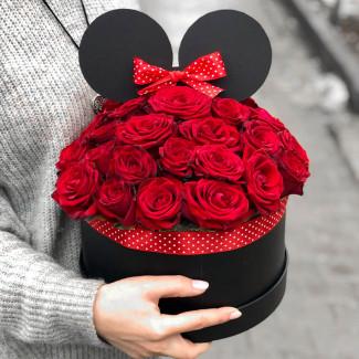 """Розы в Коробке """"Минни Маус"""""""