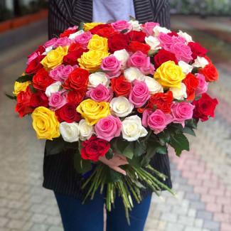 101 Роза Ассорти 50-60 см