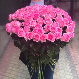 101 Trandafiri Roz 70-80 cm