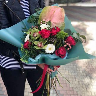 Bouquet with Green Anthurium