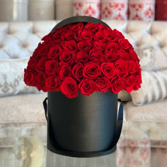 Red roses in black box photo