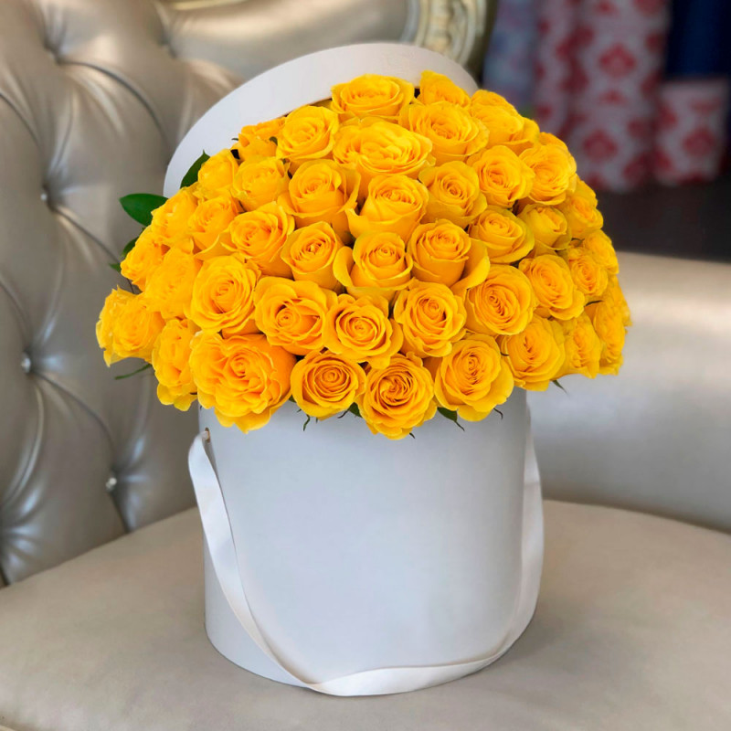 Yellow roses in a box photo