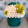 White roses with green orchid in box photo
