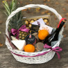 Basket with honey and fruits photo